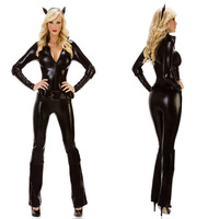 Cat Costumes black cat suit little devil Halloween sexy costumes role-playing catsuit 11528-2 , free shipping