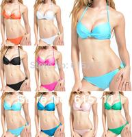 2014 Fashion Women Push Up Padded Swimwear Sexy Swimsuit Bandeau Top and Brazilian Bottom Black Bikini Set 8 Colors