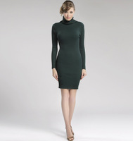 2014 spring fashion all-match basic elastic plus size slim hip knitted turtleneck sweater dress full dress female