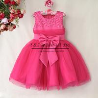 New 2015 Girl Party Dress Hot Pink Top Grade Princess Dresses Sequin Summer Girls Dress Kids Cltohes Children Clothing