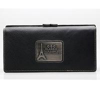 Womens Black Real Genuine Leather Bifold Clutch Checkbook Zipper Pocket IDCredit Card Coin Purse Multi Function Organizer Wallet