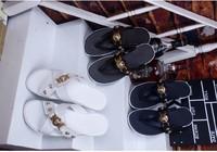 2014 Brand fashion Medusa Men's leather flats sandal slippers slides 39-44
