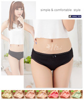 2014 New Women's Sexy Lingerie Lace Trim Hipster Panty Cotton Panties Plus Size Undies Candy Color