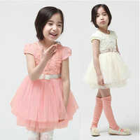 New 2014 Summer Girl's dress Children dresses Korean fashion casual dress baby girl dress 5pieces/lot size100-140cm pink white