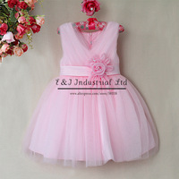 2014 Free Shipping Girl Princess Dresses Pink Big Bowknot Wedding Kids Dress Top Grade Girls Clothes Children Wear