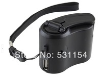 Black USB hand dynamo charger Adapter Emergency Portable mobile power bank EU Creative fun car phone MP3 for outdoor Travel
