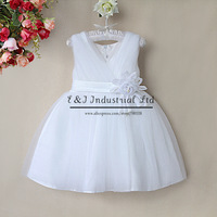 New Girls Party Dresses Pure White Summer Princess Dress Girls Clothes For Wedding Children Wear Free Shipping