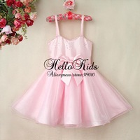Latest Style Girl Summer Princess Dress Kids Pink Bead Dresses With Bow Kids Clothes For 2014 Children Free Shipping
