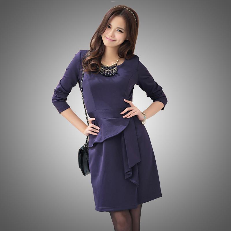 Plus size clothing 200 spring cooked ol elegant slim long-sleeve dress plus size(China (Mainland))