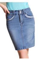 Free Shipping! Drop Shipping Women Spring Summer  2015  Pocket Denim Skirt ,female Casual skirt  bIG SIZE S M L XL 2XL 3XL 4XL