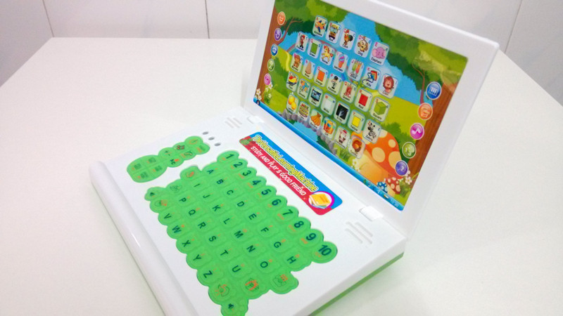 kids intelligent study laptop computer educational learning machine for children cartoon look baby toys with music game(China (Mainland))