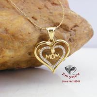 JHGOO70051 Classic 18K Gold Plated MOM Heart pendants 2pcs/lot