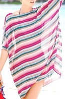 2014 Fashion elastic women beach dress o-neck colorful striped transparent sexy bikini cover up summer beachwear good quality