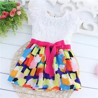 Summer baby girl dress  child short-sleeve dress  lace bow big flower girls dresses child clothing