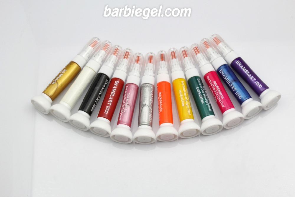 Free Shipping Wholesale 12 Different Colors 2- Ways Nail Art Brush & Nail Pen Varnish Polish Nail Tools Set 12pcs/Lot #LX12(China (Mainland))