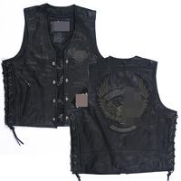 Genuine leather motorcycle vest embroidery reflective motorcycle clothing skull cowhide denim vest Men TP2