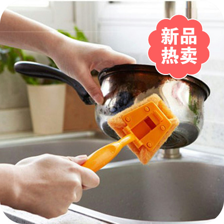 2014 hot handle sponge decontamination brush kitchen cleaning brush free shipping(China (Mainland))