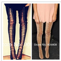 2014 Hot selliing Thigh High Gladiator Boots Suede Leather Nude Red Black Over The Knee High Heel Lace Up Boots