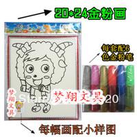 Child Medium powder sand belt box plastic painting powder drawing toys 20x24cm 5pcs/lot free shipping