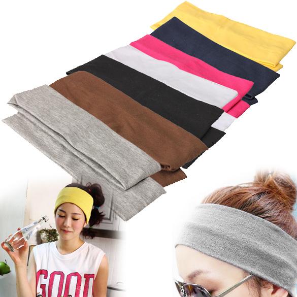 2Pcs Sporty Yoga Dance Biker Elastic Wide Headband Stretch Ribbon Hairband Headwear ES88(China (Mainland))