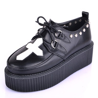 NEW FASHION WOMEN CROSS PATTERN LACE UP FLAT DOUBLE PLATFORM GOTH CREEPERS PUNK CASUAL SHOES