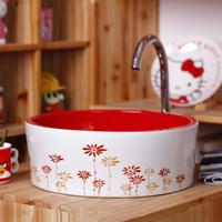 Counter basin red basin single-basin wash basin round bathroom