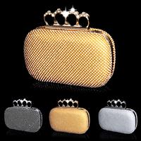 Free Shipping Diamond Full Rhinestone Day Clutch Finger Ring Design Luxury Evening Dress Bags Women Wedding Bags Chain Bag
