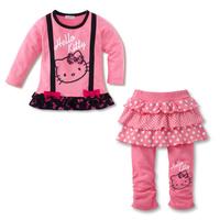 Children Girls suit Hello kitty T-shirt + pants 2pcs sets children's clothing retail KITTY strap bow new series set girls