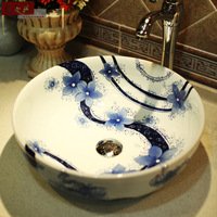 Brief ceramic washbasin bathroom wash basin counter basin bathroom wash basin blue and white
