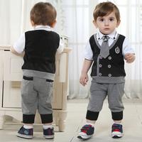 Children's gentleman clothing suits 210766 baby boys short sleeve top+ pants with   tie  kids set