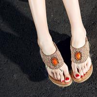 2014 spring and summer luxury genuine leather low-heeled flat heel sandals sweet beaded rhinestone women's shoes sandals female
