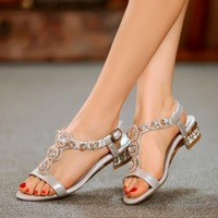 2014 spring and summer sheep leather female sandals rhinestone genuine leather low-heeled women's flat heel shoes