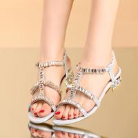 2014 rhinestone thick heel genuine leather sandals female flat open toe sandals