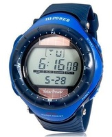 0405 Round Dial Digital Waterproof Diving Solar man Sports Watch with Solar power, Plastic Case, Rubber Strap & Backlight (Blue)