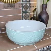 Vintage ceramic basin wash basin wash basin handmade sculpture art basin counter basin c036