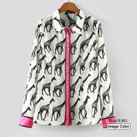 HZA084 Brand New Fashion Women Elegant Giraffe Animals Print Shirts White Pink Patchwork Long Sleeve Slim Loose Blouses Tops