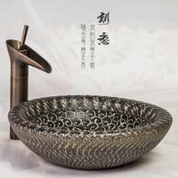 Vintage handmade art basin knife stencilling series high temperature table basin ceramic wash basin countertop basin