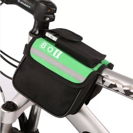 2014 New Mountain Bike Saddle Bicycle Front Tube Bag Pouch Cycling Frame Pannier 2 sides Pack Bandy-Colored Bag(China (Mainland))