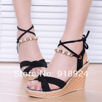 2014 open toe sandals vintage high-heeled platform shoes platform wedges platform shoes women's shoes