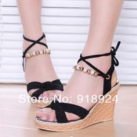 2014 open toe sandals vintage high-heeled platform shoes platform wedges platform shoes women's shoes