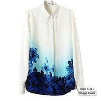 HZA085 Brand New Fashion Women Elegant Blue Flower Print Shirts Turn-down Collar Long Sleeve Slim Loose Chiffon Blouses Tops