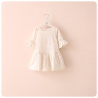 Spring and summer clothing new Korean girls openwork lace sleeve dress double horn sleeve kids gown