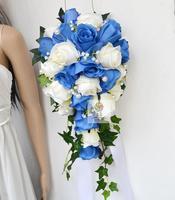 Handmade artificial flower wedding flower bride holding flowers waterfall blue and white rose