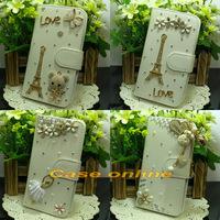 1 Pcs Pretty handmade Bling Flower Tower Angel Butterfly Bow Flip PU Leather Case For Motorola Moto G XT1028 XT1032 XT1031