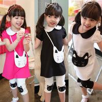 2014 new arrival summer girl suits children clothing sets girls cotton 2pieces suit kids shirt+short pants