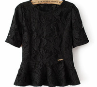 High Quality Hot-sale New 2014 Female O-neck Short Sleeve Lace Cute Blouses&Shirts Women Clothing For Summer Blouse
