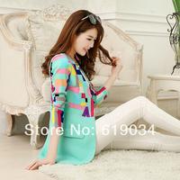 new arrival 2014 free shipping women's blazer color block women's patchwork medium-long suit spring slim female blazer outerwear