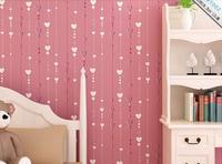 2014New  Flock wallpaper child bedding room for kids wall paper for rolls pink  moisture proof household