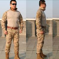 Airsoft combat uniform tactical BDU USMC FROG SHIRT & PANTS Navy seals combat frog suit BDU with knee pads free shipping