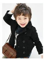 2014 boy's coat Children Double breasted woolen Jacket Kid's cotton thickening outerwear wool ingredient FREE SHIPPING